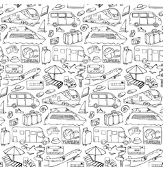 Seamless pattern with travel and transport objects vector