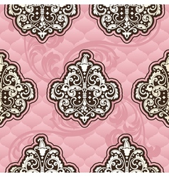 Seamless rococo floral in pink vector