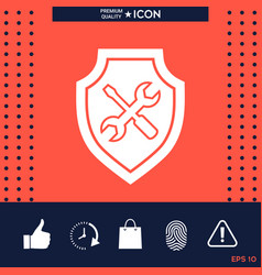 service icon - shield with screwdriver and wrench vector image vector image
