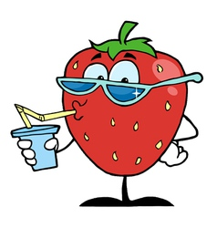 Strawberry cartoon character juice drink vector