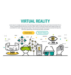 Virtual reality - rectangular site header vector