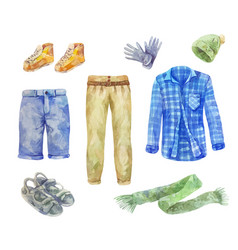 Watercolor mens clothing collection on white vector