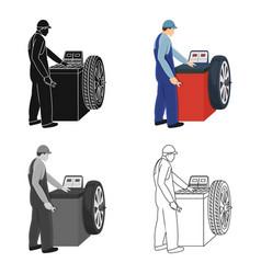 Wheel balancer single icon in cartoonoutline vector