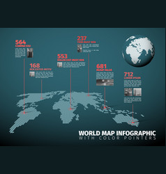 World map infographic with pointer marks vector