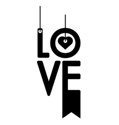 I love you greeting heart style outline vector
