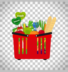 Supermarket shopping basket with natural food vector