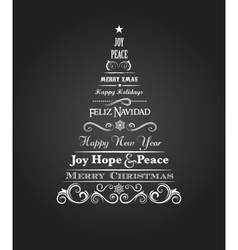 Vintage christmas tree with text and elements vector