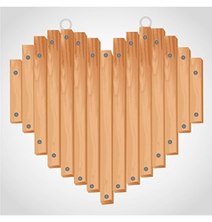 Heart wood board with grommets for hanging vector
