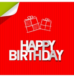 Happy birthday paper red cardboard background vector