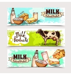 Milk products banner set vector