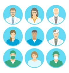 Medical clinic staff flat avatars vector