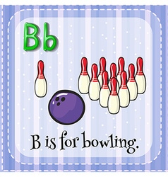 Flashcard of b is for bowling vector