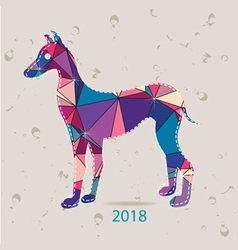 The 2018 new year card with Dog made of triangles vector image
