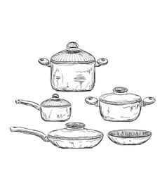 Hand drawn of dishware vector