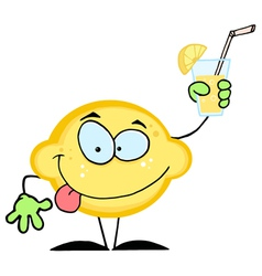 Cartoon lemon holding a glass with lemonade vector