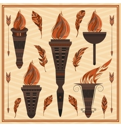 Ornament flaming torch of ancient greece rome vector
