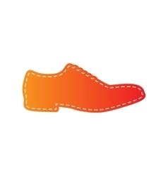 Men shoes sign orange applique isolated vector