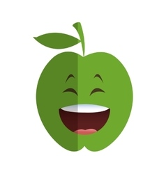 Laughing apple cartoon icon vector