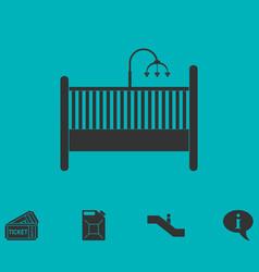 baby crib icon flat vector image vector image