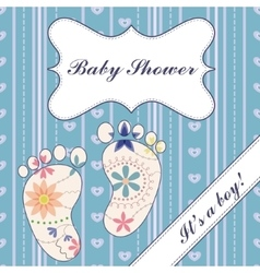 Background with feet baby shower boy vintage vector image