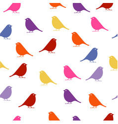 Birds seamless baby background with colour birds vector