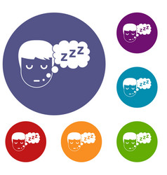 Boy head with speech bubble icons set vector
