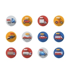 Car sale services round flat color icons vector image