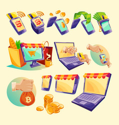 Cartoon icons of devices for online payments vector