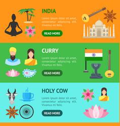 cartoon india banner horizontal set vector image vector image