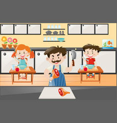 chef cooking for two kids in kitchen vector image