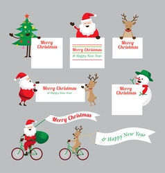 Christmas Characters Show Blank Signs Set vector image vector image