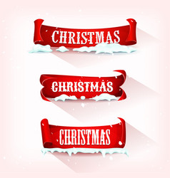 christmas parchment scroll with snow vector image vector image