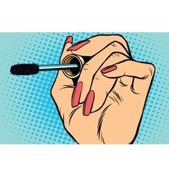 close up Black mascara eyeliner eyelash vector image