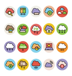 Cloud computing colored icons 3 vector