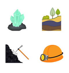 Crystals coal seam pickaxe helmet with a vector