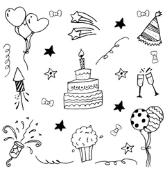 Element birthday doodle art vector
