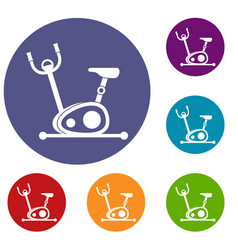 exercise bike icons set vector image