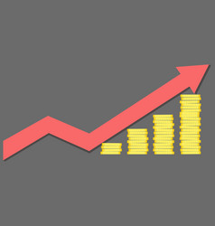 Financial success concept - graph with coins vector