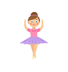 Flat teen kid ballerina isolated vector