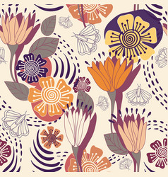Floral decorative seamless pattern vector