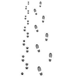 footprints of man and dog vector image vector image