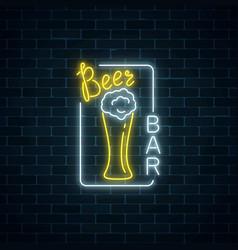 Glowing neon signboard of beer bar in rectangle vector