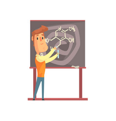 handsome scientist standing next to blackboard vector image vector image