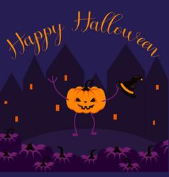 happy halloween postcard banner vector image