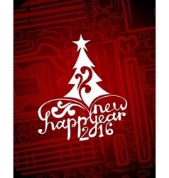 Hi-tech greeting new year card vector image