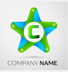 letter c logo symbol in the colorful star on grey vector image vector image