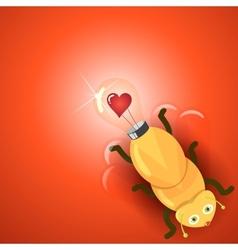 Love light bulb firefly vector