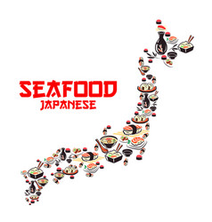map of japan with asian cuisine seafood dishes vector image