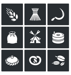 Mill and bread icon set vector image vector image