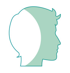 Profile silhouette head man male avatar vector